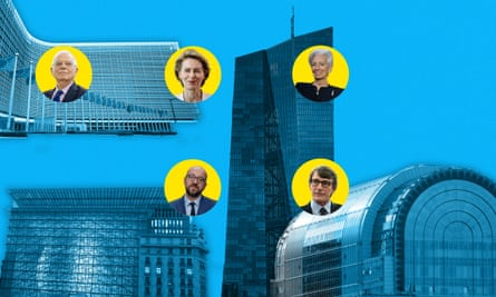 Berlaymont, Europa, ECB, Paul Henri Spaak buildings with Josep Borrell, Ursula von der Leyen, Christine Lagarde, Charles Michel and David-Maria Sassoli