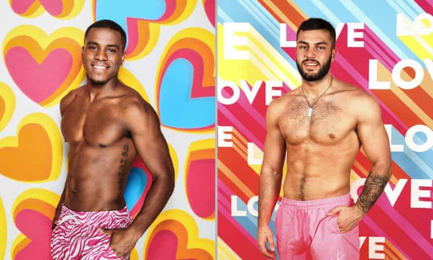 Luke Trotman and Finn Tapp on Love Island. Photos by ITV/Rex/Shutterstock