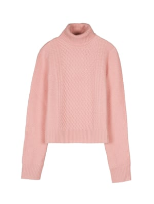 Pink cable polo neck jumper