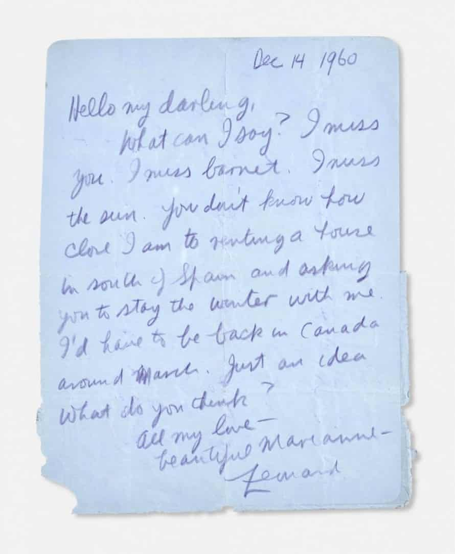 A letter from Cohen to Ihlen.