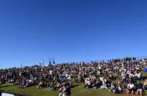 Crowds on the Sunshine coast before Melbourne Storm take on Newcastle Knights in the NRL