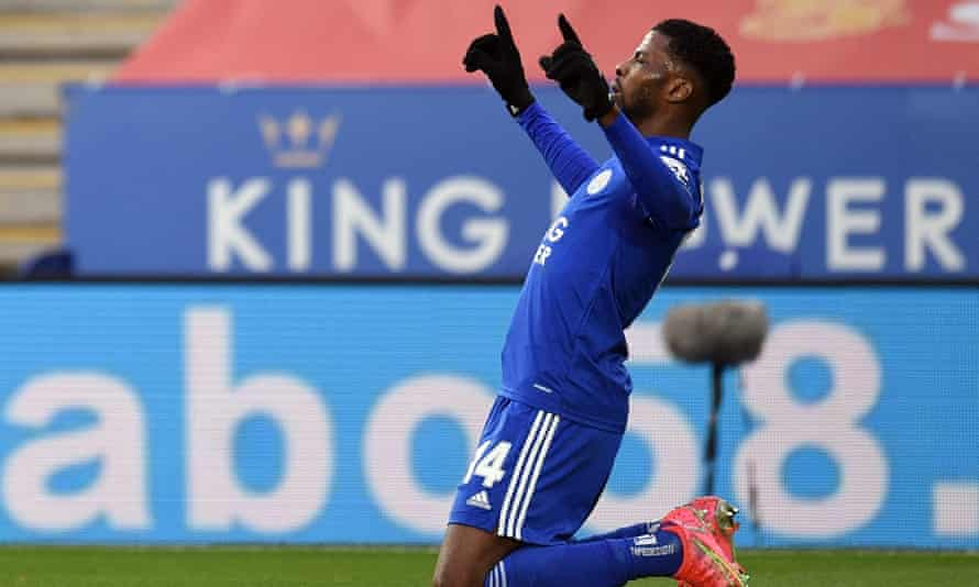 Leicester's Kelechi Iheanacho celebrates scoring in the 3-1 FA Cup quarter-final win against Manchester United
