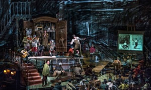 William Kentridge's production of Alban Berg's opera Wozzeck, showing at the Sydney Opera House, features animated images projected on to the stage.
