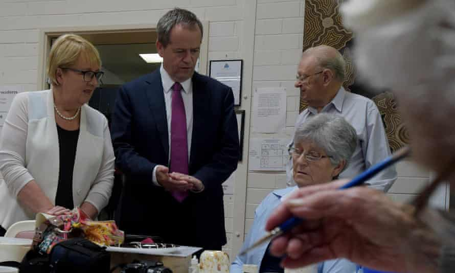 Opposition leader Bill Shorten and shadow families minister Jenny Macklin speak to pensioners during a visit to the Turner Seniors Centre in Canberra on Tuesday.