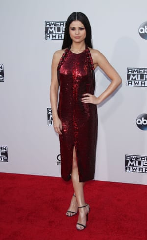 Selena Gomez in a sequinned shift dress.