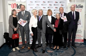(L-R) Margaret Calvert, Peter Bowles, Sheila Hancock, Lionel Blair, Amanda Barrie, Judith Kerr, Gyles Brandreth and guest attend The Oldie of the Year Awards held at Simpson's In The Strand in London in 2019