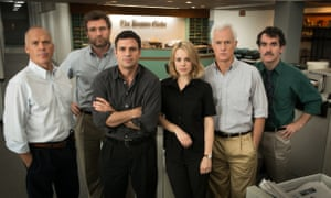 Spotlight: Michael Keaton, Liev Schreiber, Mark Ruffalo, Rachel McAdams, John Slattery and Brian d'Arcy James as the reporting team uncovering abuse by priests.
