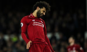 Liverpool's Mohamed Salah shows his anguish after a miss during the 0-0 draw with Everton at Goodison Park.