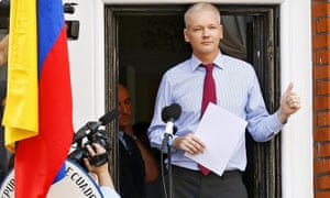 Wikileaks founder Julian Assange giving a thumbs up in 2012 on the balcony of the Ecuador embassy where he has sought political asylum in London.
