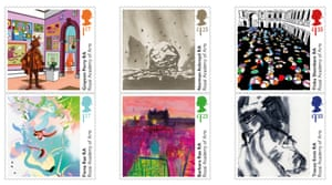 Happy birthday … the six Royal Academy commemorative stamps.