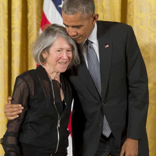 President Barack Obama presents poet Louise Glück with the National Humanities Medal in 2016.