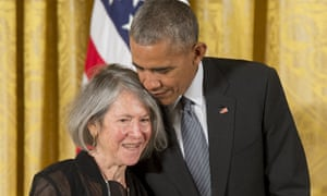 Barack Obama presents poet Louise Gluck with the 2015 National humanities medal.