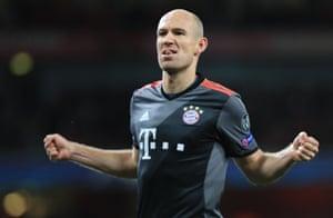 Arjen Robben celebrates after scoring.