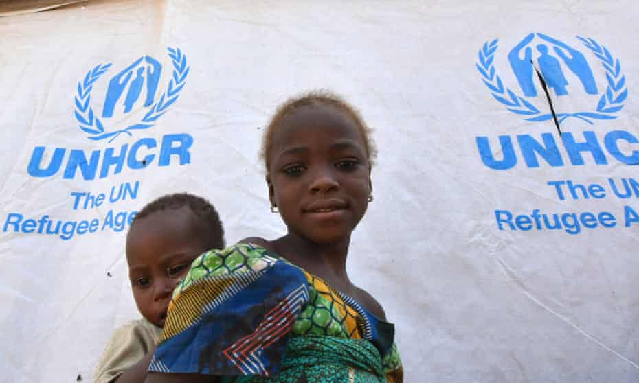 Nigerian refugee children in a UNHCR refugee camp in Baga Sola
