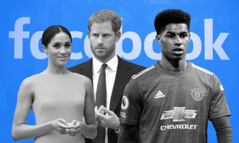 Public figures such as the Duke and Duchess of Sussex, and footballer Marcus Rashford, are considered by Facebook to be permissible targets.