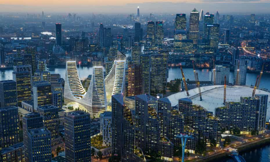 An artist's impression of the Greenwich Peninsula scheme in London.