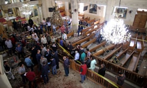 People in a bombed church in Egypt