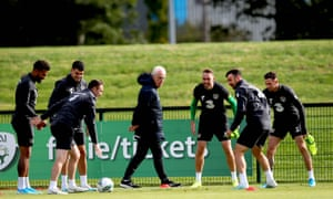 Mick McCarthy watches his players train before Republic of Ireland's game against Switzerland on Thursday.