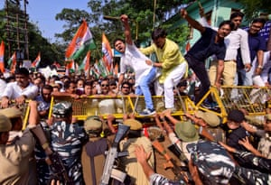 Activists from India's main opposition Congress party during a protest against what the activists say is economic slowdown in the country. Guwahati, India