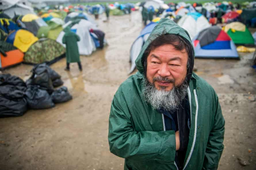 Chinese artist and human rights activist Ai Weiwei visits the refugee camp at the border between Greece and the Former Yugoslav Republic of Macedonia, near Idomeni, Greece, 10 March 2016.