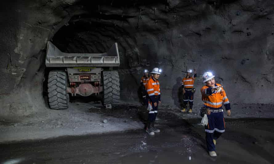 Workers in the Oyu Tolgoi copper-gold mine in Khanbogd, Mongolia