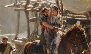 Louis Hunter (Paris) and Bella Dayne (Helen) on horseback in the BBC/Netflix miniseries Troy: Fall of a City.