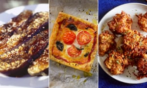 Roasted aubergines with sesame, honey and miso glaze, puff pastry 'pizzas' and Honey & Co's potato latkes.