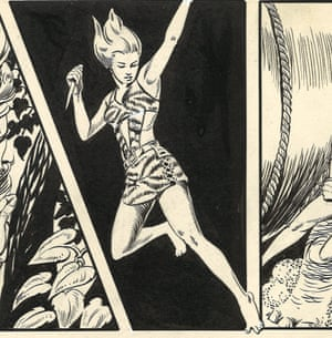 Camilla by Marcia Snyder (1954 Jungle Comics #163, Fiction House) Ink on paperMarcia Snyder worked at New York's Fiction House, a comics publisher that in the 1940s hired more women than any other. They specialised in sensational adventure titles with strong female leads.