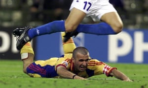 Gheorghe Hagi hits the turf at Euro 2000