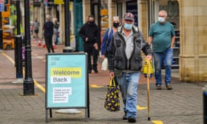 Shoppers wearing masks in Caerphilly.