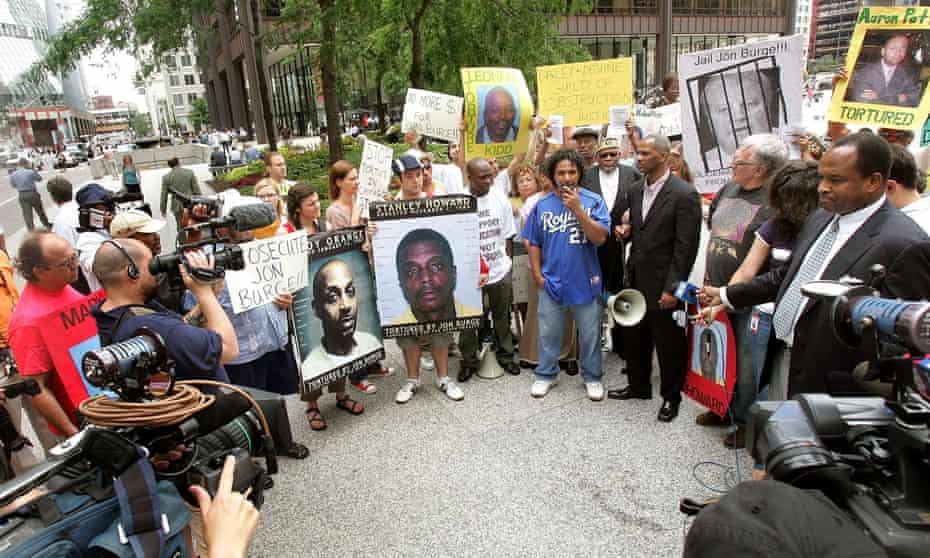 A rally for victims of police torture in Chicago in 2006.