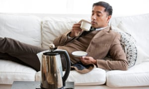 Rhik Samadder with a cup of tea made using his Ecologyk kettle