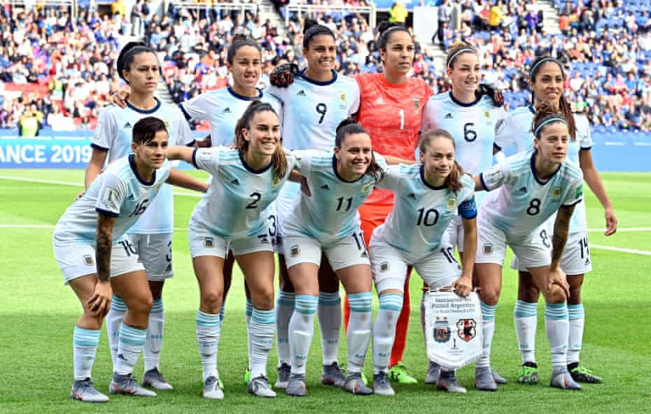 Argentina line up before Monday's match with Japan, their first appearance in a World Cup for 12 years.