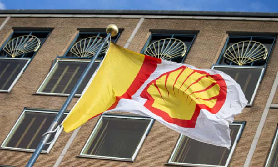 Shell flag flies outside company headquarters in the the hague