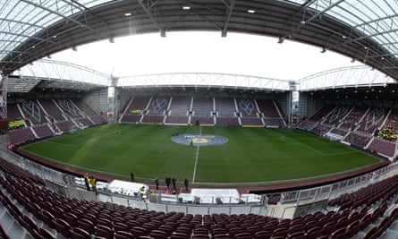 A geneal view of an empty Tynecastle, home of Hearts