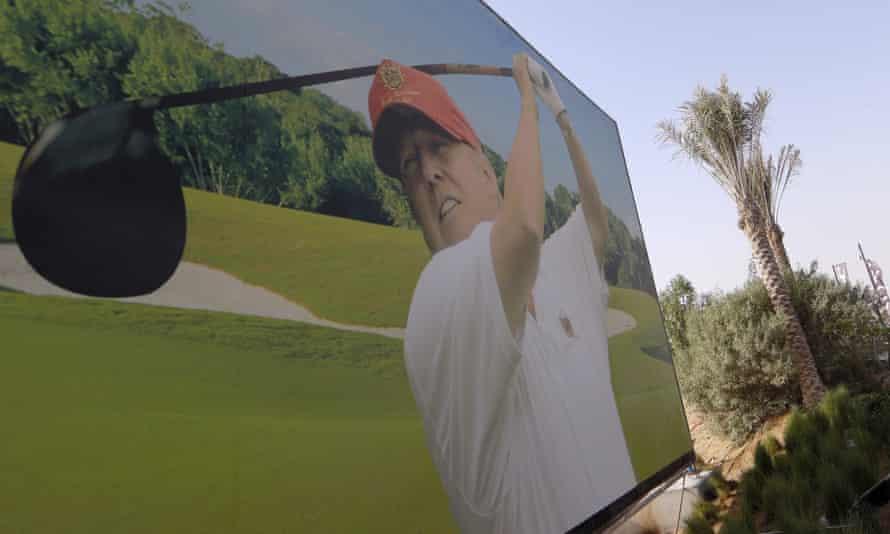 Taken down … a billboard in Dubai, where Trump is building a golf course in the desert.
