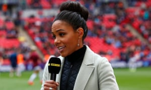 Alex Scott was one of the BBC team working on the Women's FA Cup final, won by Manchester City.
