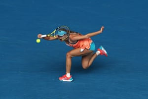 Melbourne, Australia. Danielle Collins of the US plays a forehand in her second-round match against Karolína Plíšková of the Czech Republic during day four of the Australian Open at Melbourne Park