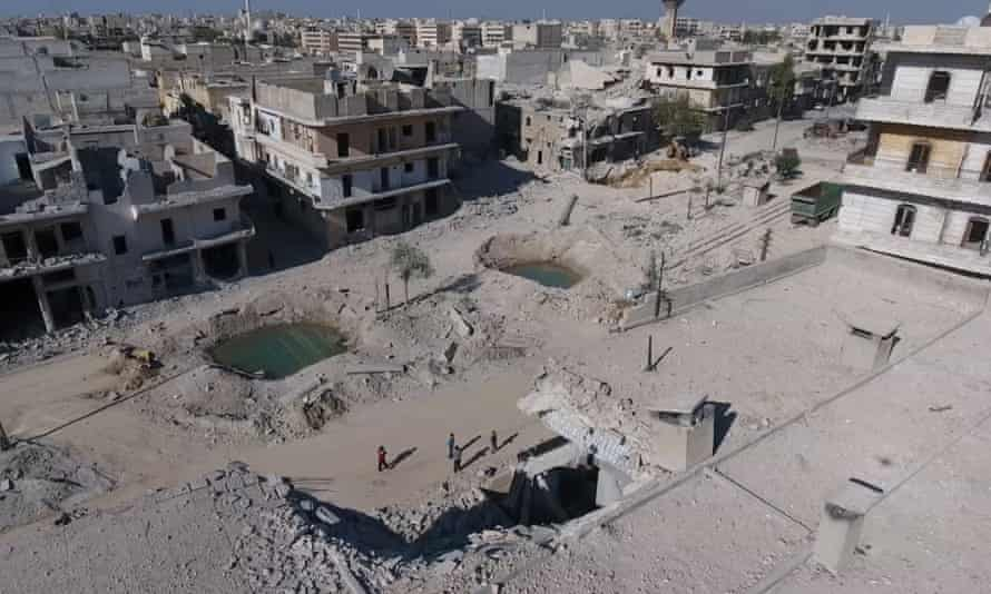 A still image taken from a drone flying over Aleppo in September