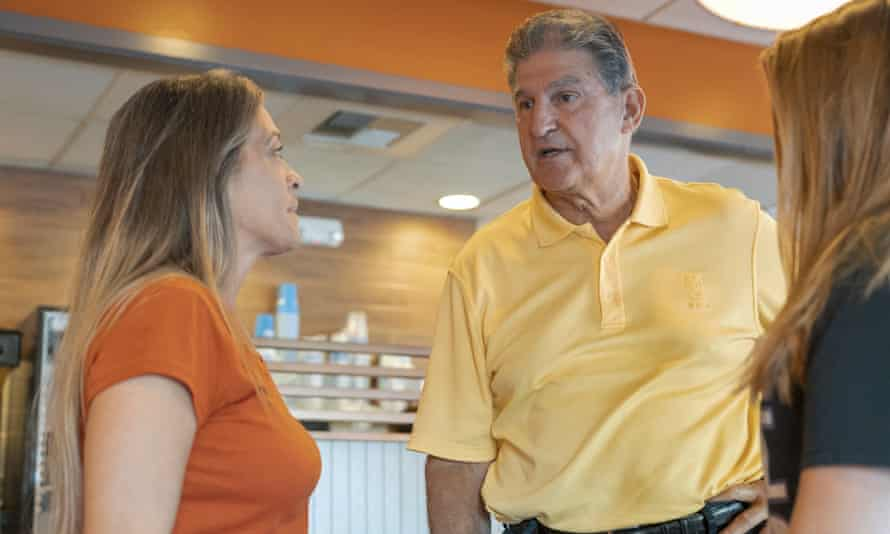 The Democrat senator Joe Manchin speaks about his recent vote in the Senate to confirm Brett Kavanaugh as a supreme court justice at Ihop in Charleston, West Virginia.