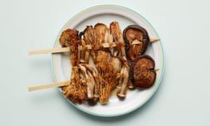Shiitake mushrooms on a stick from Jidori.