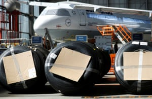 Grounded planes in storage in Frankfurt in July 2020.