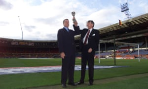 Geoff Hurst, left, with Martin Peters with a replica of the World Cup trophy commemorating the 'old' Wembley stadium on the eve of the final game there in 2004.