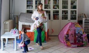 Christelle, who works as a childminder and takes in ironing to make ends meet in Lyon, France