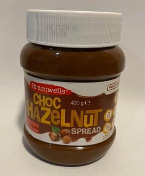 A jar of Bramwells Hazelnut Spread from Aldi