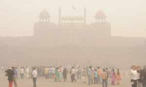 Thick smog hangs over the Red Fort in Delhi.