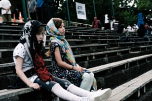 Children wearing headscarves attend a service in Christchurch.