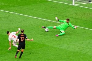Ivan Trickovski of North Macedonia scores a goal past Maarten Stekelenburg of Netherlands that was later disallowed.