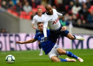 Cardiff City's Joe Ralls recieves a straight red for his tackle on Tottenham's Lucas Moura as Spurs win 1-0 at Wembley.