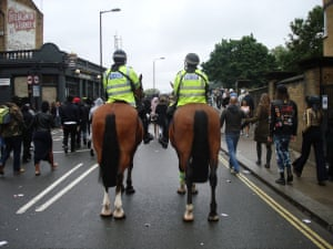 """<strong>No horsing around?</strong><br>Mounted police on the Great Western Road <br>Photograph: <a href=""""https://witness.theguardian.com/assignment/55deeea5e4b0778f0c23e764/1689354"""">LiamMB/GuardianWitness</a>"""